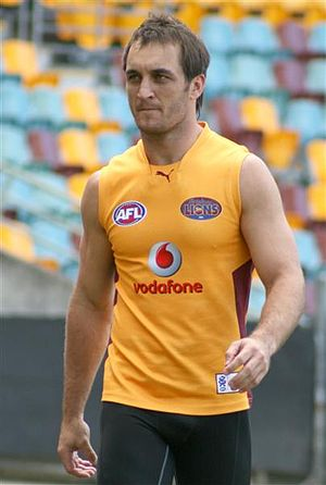 Daniel Bradshaw - Daniel Bradshaw at a Brisbane Lions public training session, 2008.