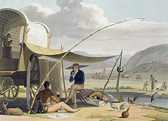 Trekboer - An aquatint by Samuel Daniell of Trekboers making camp. Depicted around 1804.