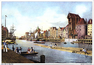 Gdańsk - Friedrich Eduard Meyerheim's painting of the waterfront (1850)