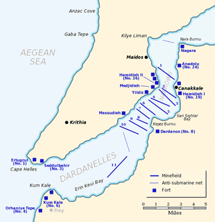 A map of the narrow Dardanelles Strait, with coastal fortifications located on both sides of the straits, clustered at the mouth of the straits and at the narrowest point