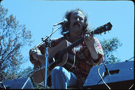 Crosby on stage during a 1976 Crosby & Nash show at the Frost Amphitheater, Stanford University David-Crosby 1976.jpg