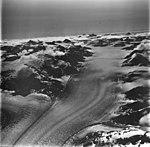 Dawes Glacier, tidewater glacier with dark medial moraine, August 23, 1976 (GLACIERS 5400).jpg
