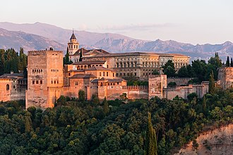 Tourism in Spain - Full view of the Alhambra, Granada