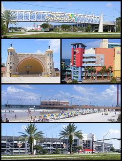 Frae tap, left tae richt: Welcome sign when enterin Daytona Beach; Daytona Beach Bandshell; Ocean Walk Shoppes; Daytona Beach Pier; Daytona Internaitional Speedway