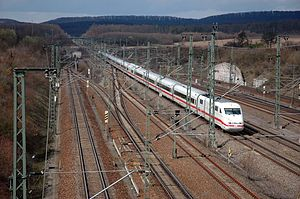 Vaihingen (Enz) station - An ICE Stuttgart passes through the station without stopping.