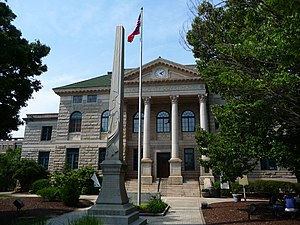 Old DeKalb County courthouse and Confederate monument in Decatur