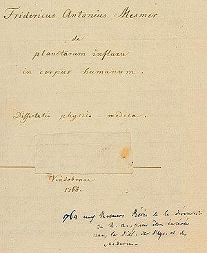 Franz Mesmer - De planetarum influxu in corpus humanum