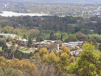 Canberra Girls Grammar School - CGGS viewed from Red Hill with Lake Burley Griffin in distance