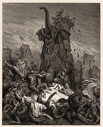 Eleazar Avaran - Death of Eleazer (illustration by Gustave Doré from the 1866 La Sainte Bible)