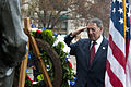 Defense.gov News Photo 111207-D-BW835-001 - Secretary of Defense Leon E. Panetta salutes as taps is played during a wreath laying ceremony at the Navy Memorial in Washington D.C. on.jpg