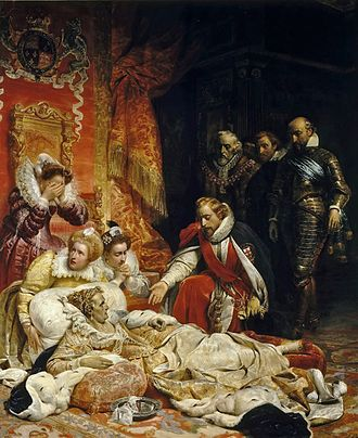 Succession to Elizabeth I of England - Allegorical painting of the crown passing from Elizabeth I to James I, by Paul Delaroche (1828)