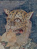 Detail of the tiger ridden by Dionysus in a mosaic in Delos