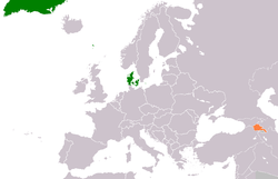Map indicating locations of Denmark and Armenia
