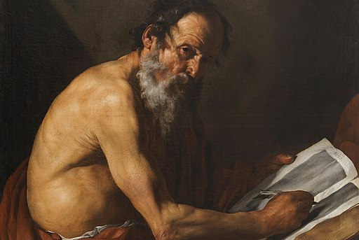 Detail of Saint Jerome writing by José de Ribera, Prado