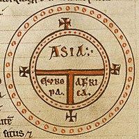 """Mapa diagramático T-O. O mundo surge num círculo dividido por um """"T"""", em três continentes: Ásia, Europa e África."""