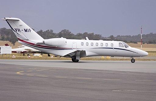 Dick Smith Adventure (VH-MIF) Cessna Citation CJ3 taxiing at Wagga Wagga Airport