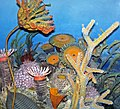 Diorama of a Devonian seafloor - crinoid, corals, fenestrate bryozoan, trilobite, algae (43838401600).jpg
