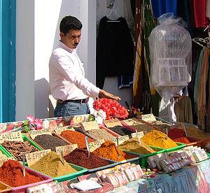 Bargaining - Spice market Djerba, Tunisia.