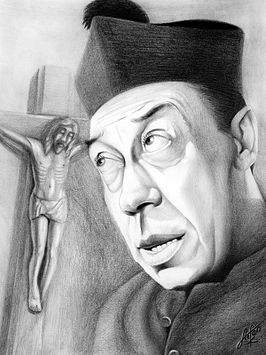 Tekening van Fernandel als Don Camillo talking with Jesus door Stefan Kahlhammer, 2008
