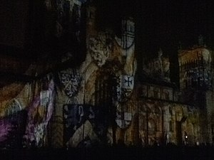 Lumiere festival - The projection display on Durham Cathedral during the 2011 Lumiere festival