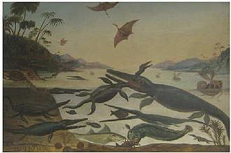 Duria Antiquior - The large oil on canvas painted by Robert Farren circa 1850 based on earlier versions by De la Beche and Scharf.