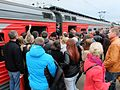 ET2M-086 at Khimki station, rush hour boarding on the train.jpg