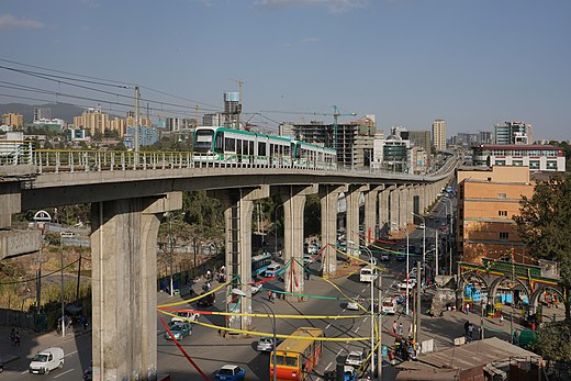 Light rail overpass at Lideta station, Addis Ababa ET Addis asv2018-01 img07 Light Rail.jpg