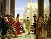 A depiction of Jesus' public trial