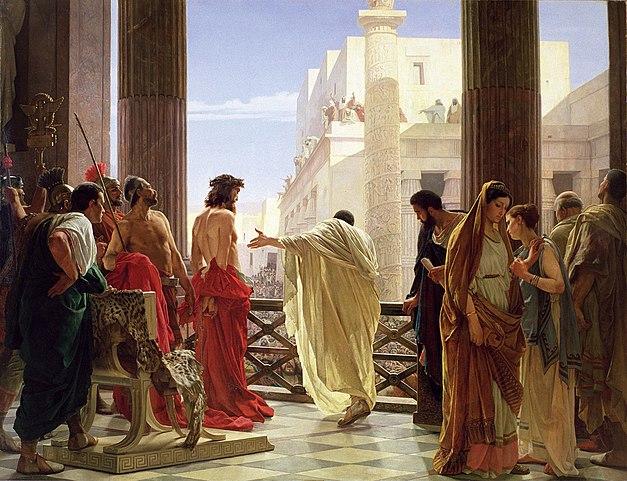 Ecce Homo (Се, Человек!). На картине Антонио Чизери Понтий Пилат показывает подвергшегося бичеванию Иисуса жителям Иерусалима, в правом углу изображена скорбящая жена Пилата.