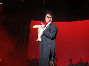 "Ed Alonzo - Ed Alonzo holding ""Bob the Duck"" while performing at Kings Island on October 27th, 2013."