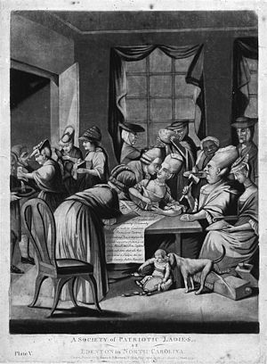 "Boston Tea Party - This 1775 British cartoon, ""A Society of Patriotic Ladies at Edenton in North Carolina"", satirizes the Edenton Tea Party, a group of women who organized a boycott of English tea."