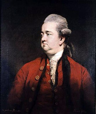 Edward Gibbon - Portrait, oil on canvas, of Edward Gibbon by Sir Joshua Reynolds (date unknown)