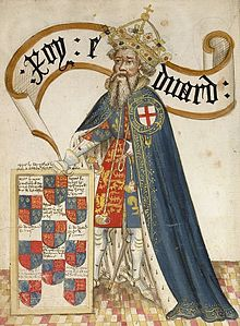 Medieval drawing of Edward III with the Order of the Garter.