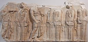 Parthenon Frieze - Weavers section of the frieze, East VII, 49–56, Louvre, (MR 825)