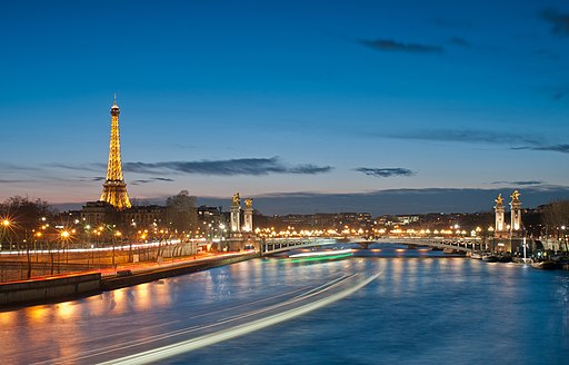 Eiffel Tower and Pont Alexandre III at night