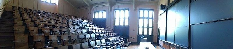 Room 302 is a lecture hall at Frist Campus Center restored to its condition when Albert Einstein taught there Einstein classroom.jpg