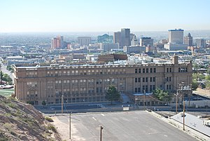 El Paso High School - El Paso High School with Downtown El Paso in the background
