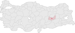 Location of Elâzığ within Turkey.