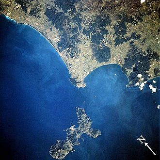 1st Army Corps (France) - Satellite view of Elba (bottom) showing rugged terrain.