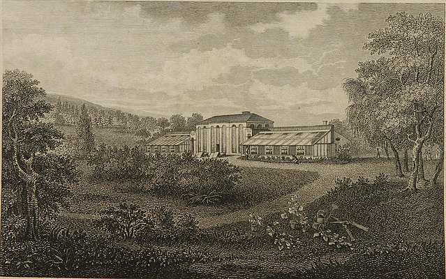 Drawing of Elgin by Reinagle, frontispiece of Hosack's Hortus Elginensis catalogue (2nd ed., 1811) Elgin 1811 catalog engraving.jpg