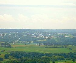 Elizabeth, Illinois, as seen from the observation tower west of the village.