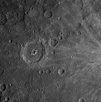 Peak ring (crater) - Eminescu crater, a peak-ring crater on Mercury