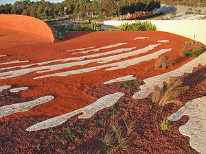 Royal Botanic Gardens, Cranbourne - The Ephemeral Lake Sculpture in the Red Sand Garden