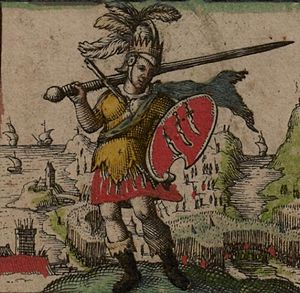 Essex - Depiction of the first king of the East Saxons, Æscwine, his shield showing the three seaxes emblem attributed to him (from John Speed's 1611 Saxon Heptarchy)