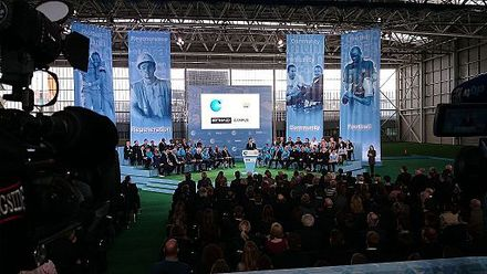 The opening of Manchester City's new training facility at the Etihad Campus in December 2014. Etihad Campus opening.JPG