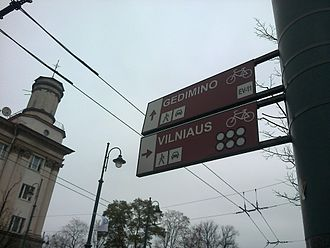 EuroVelo - Signage for EuroVelo 11, Vilnius, Lithuania.