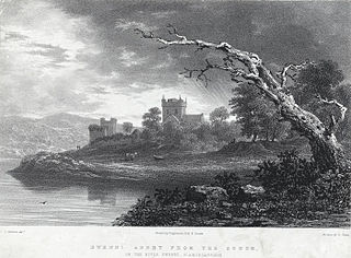 Ewenni Abbey from the south: on the river Ewenni, Glamorganshire