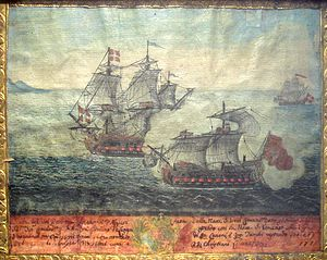 Barbary Coast - Ex-Voto of a naval battle between a Turkish ship from Algiers (front) and a ship of the Order of Malta under Langon, 1719.