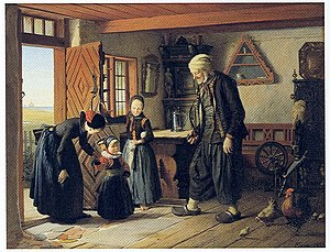 Denmark–Netherlands relations - 1853 painting by Julius Exner showing a family of Dutch descent at Amager.
