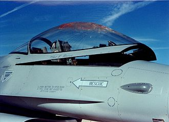 Bird strike - F-16 canopy after a bird strike